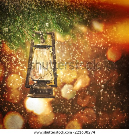 Christmas lantern - stock photo