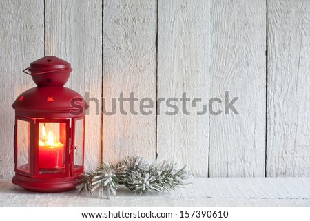 Christmas lantern abstract background on white boards - stock photo