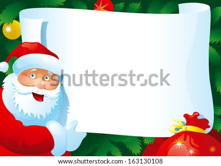 Christmas letter. Card with  Santa Claus and paper for your text.
