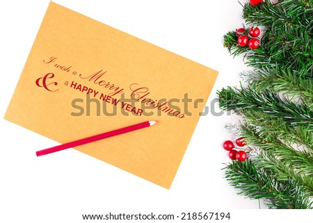 christmas letter for santa claus - stock photo