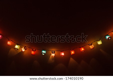 Christmas light background with copy space - stock photo