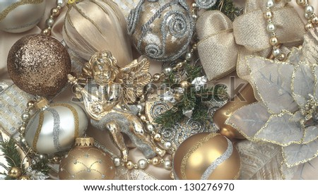 Christmas light gold - stock photo