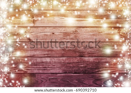 Christmas Light On Wooden Background Vintage Decoration With Lights Table