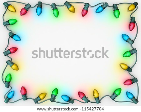 Christmas lights as a boarder to frame copy space. - stock photo