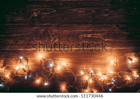 Christmas Lights Background Merry Xmas Old Wood Texture
