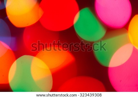 christmas lights bokeh blurred out of focus