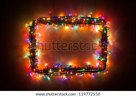 christmas lights frame - stock photo