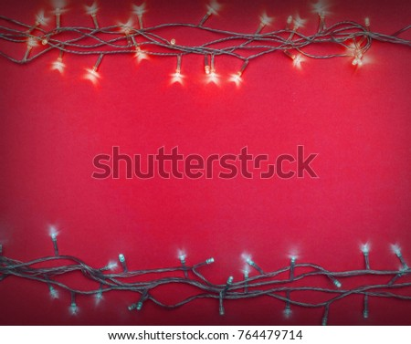 Christmas lights frame,happy new year background concept
