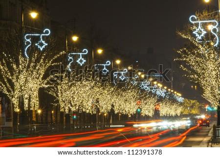 Christmas lights on a row of trees,  Budapest, Hungary - stock photo
