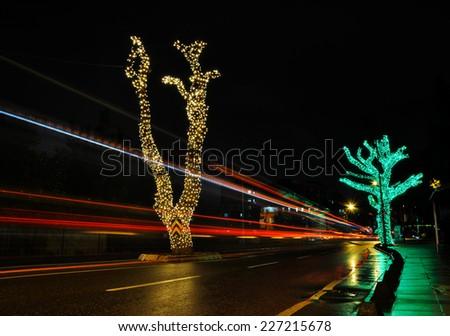 Christmas lights on the street - stock photo