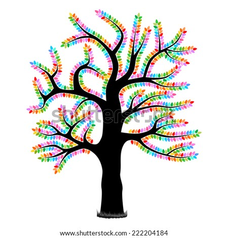 Christmas Lights on Tree - An illustration of a bare tree illuminated with colorful Christmas lights. Isolated on white. Vector version also in portfolio. - stock photo
