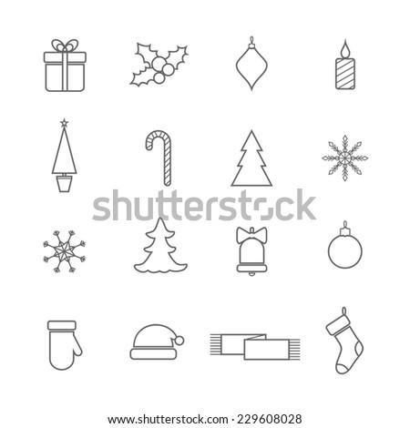Christmas line icons set. Raster version - stock photo