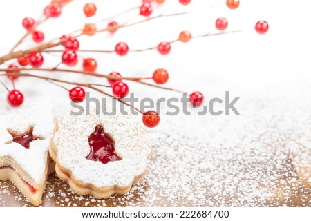 Christmas Linzer cookies - stock photo
