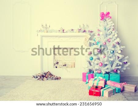 Christmas living room. Blue toned - stock photo