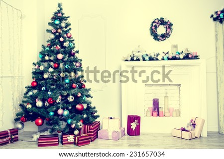 Christmas living room. Blue toned - stock photo