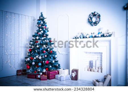 Christmas living room. Blue toned