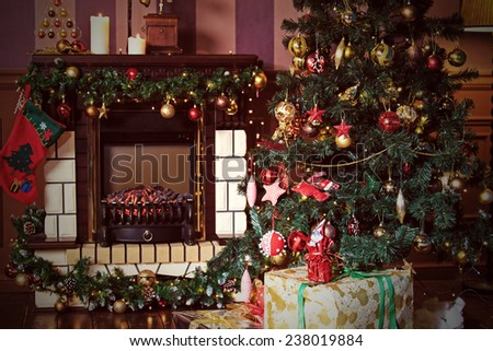 Christmas living room  interior decoration - stock photo