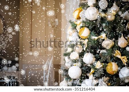 Christmas living room, stars and snow - stock photo