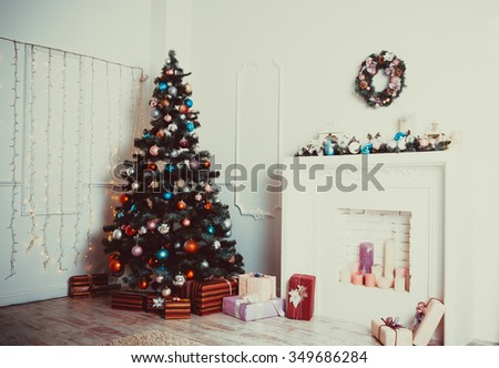 Christmas living room with Christmas Tree - stock photo