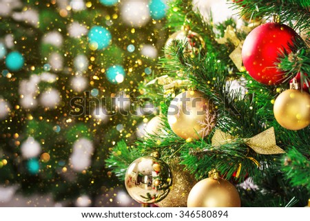Christmas living room with Christmas Tree and glitter lights - stock photo