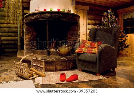 Christmas living room with fireplace and armchair - stock photo