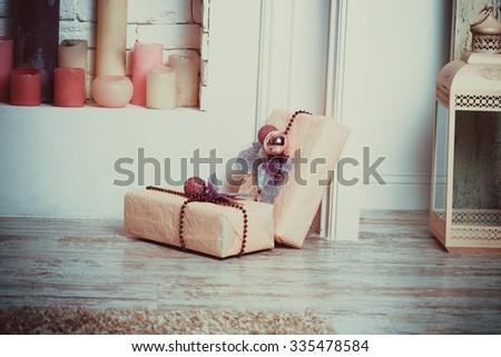 Christmas living room with gift - stock photo