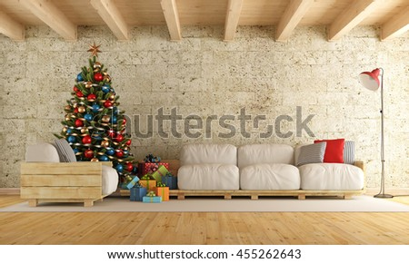 Christmas living room with pallet sofa, stone wall and wooden beams - 3d rendering