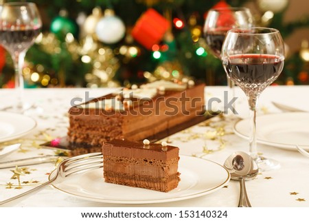 Christmas lunch table - stock photo