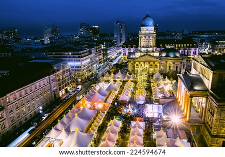 Christmas Market (Gendarmenmarkt) in Berlin from above  - stock photo