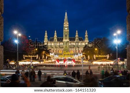 Christmas market near Vienna's City Hall (Rathaus), Austria - stock photo