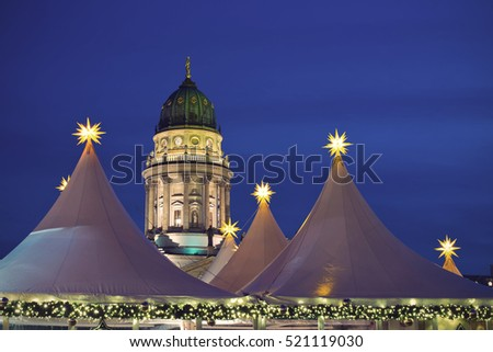 Christmas Market on Gendarmenmarkt in Berlin, Germany, Europe, Vintage filtered style