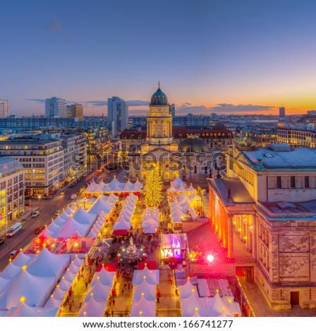 Christmas Market Panorama Skyline on Gendarmenmarkt in Berlin, Germany, Europe