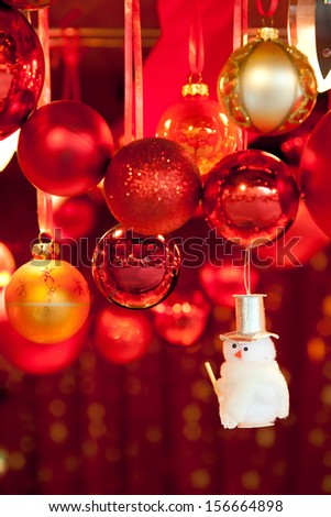 Christmas market store and balls - stock photo