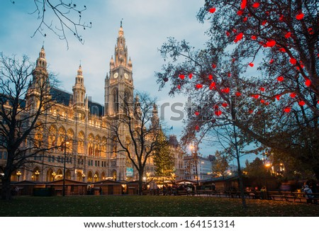 Christmas market with decoration near Vienna's City Hall (Rathaus), Austria - stock photo