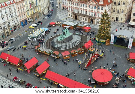 Christmas Marketplace  in Prague. Crowds of people on the Old town square. - stock photo