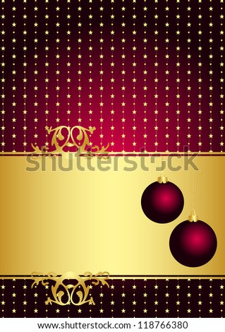 Christmas maroon frame - stock photo