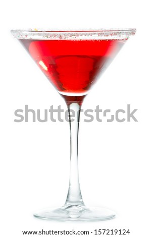 Christmas martini isolated on a white background garnished with sugar rim in different colors - stock photo