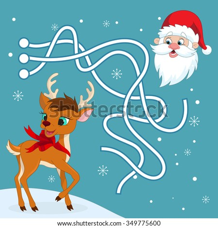 Christmas maze game. Help reindeer come to Santa. Raster.