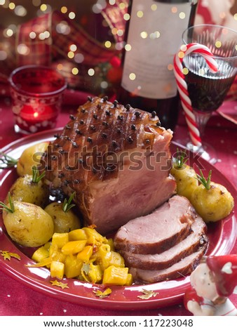 Christmas meat with potato for Holiday dinner, selective focus - stock photo
