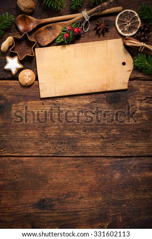 Christmas menu card for restaurants on wooden background
