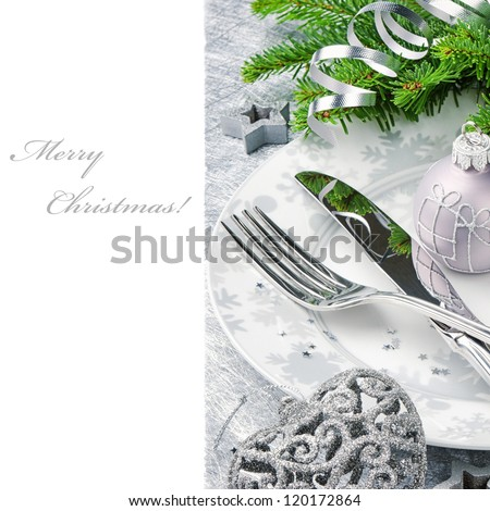 Christmas menu concept in silver tone isolated over white - stock photo