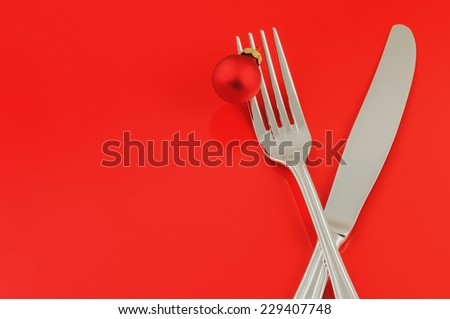 Christmas menu concept over red background - stock photo