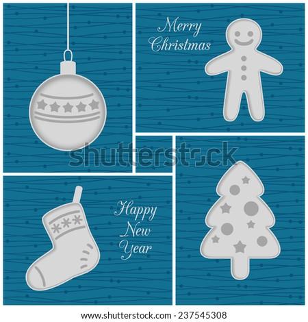Christmas mini cards, blue. Ball, gingerbread man, sock and tree - stock photo