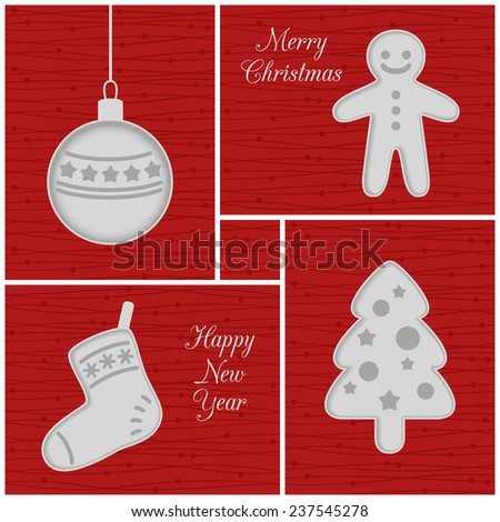 Christmas mini cards, red. Ball, gingerbread man, sock and tree - stock photo