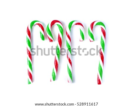 christmas Mint cane candy close up on white