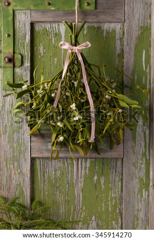 Christmas mistletoe plant with berries tied in a bunch with a white and red bow.  - stock photo