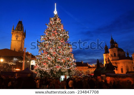 Christmas Mood on the night Old Town Square, Prague, Czech Republic  - stock photo