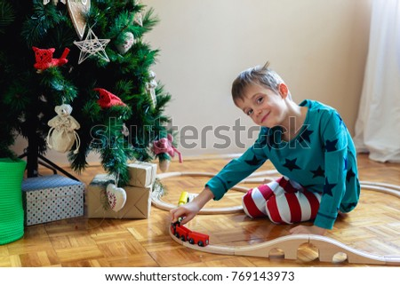 Christmas Toy Train And The House Stock Images Royalty