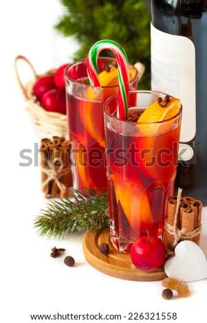 Christmas mulled wine. - stock photo