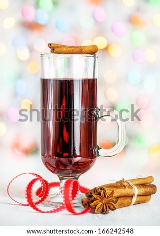 Christmas mulled wine and cinnamon  - stock photo